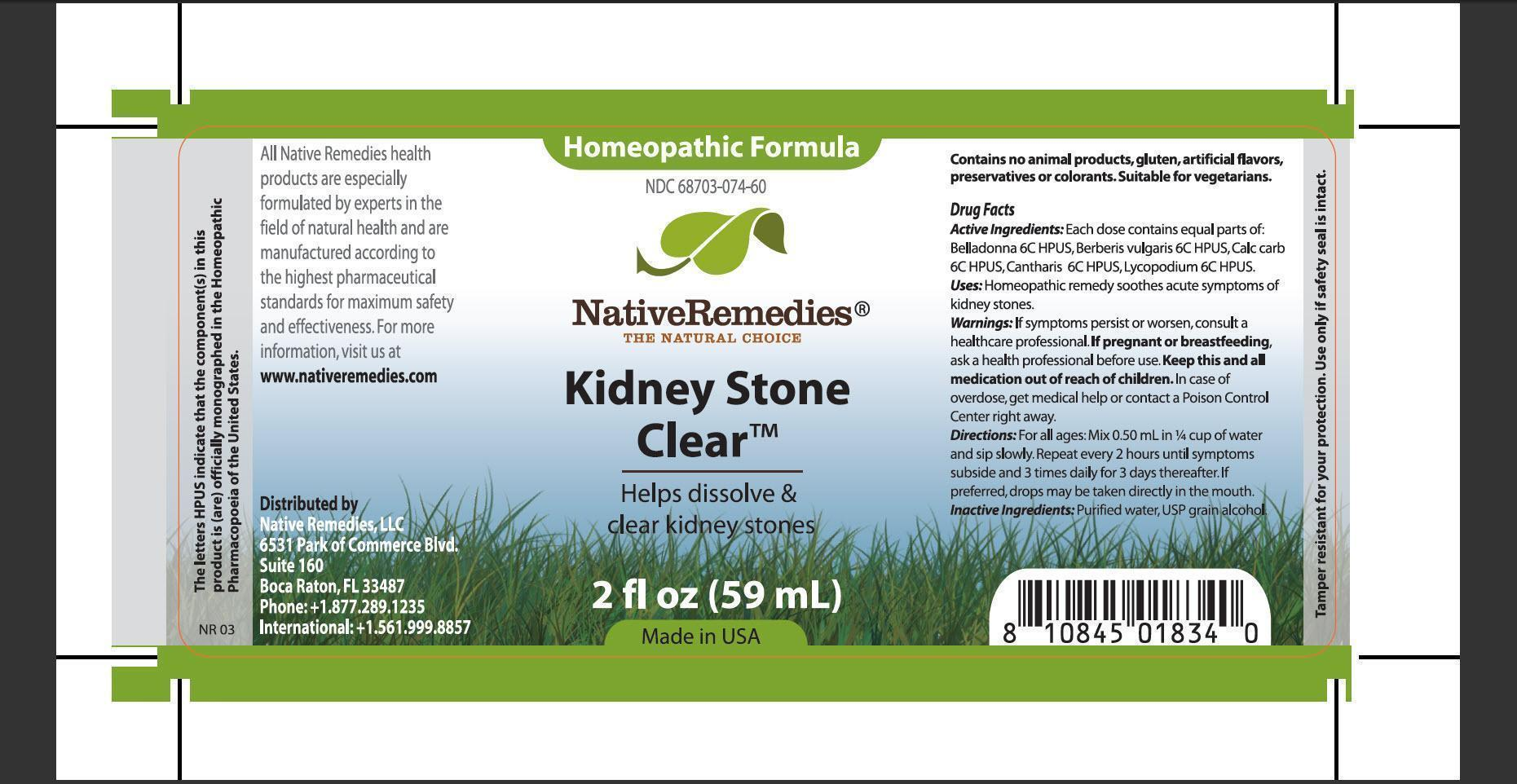 Kidney Stone Clear (Belladona, Berberis Vulgaris, Calc Carb, Cantharis, Lycopodium) Tincture [Native Remedies, Llc]
