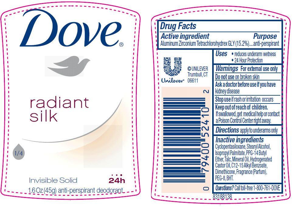 Dove Radiant Silk Antiperspirant And Deodorant (Aluminum Zirconium Tetrachlorohydrex Gly) Stick [Conopco Inc. D/b/a Unilever]