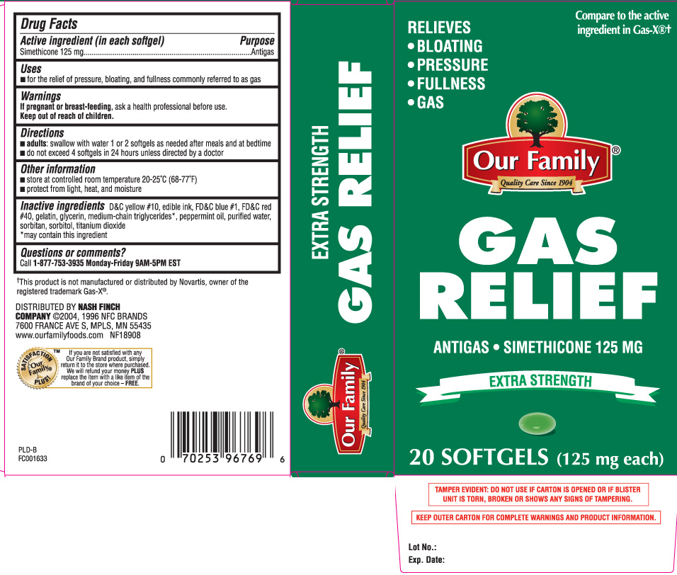 Gas Relief Extra Strength (Simethicone) Capsule, Liquid Filled [Our Family (Nash Finch Company)]
