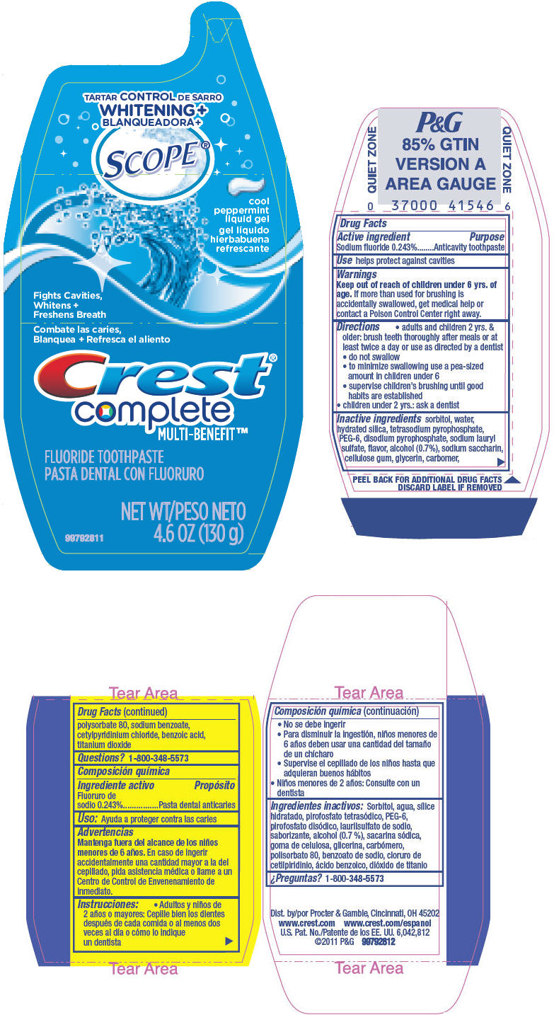 Crest Complete Multi-benefit Tartar Control Whitening Plus Scope (Sodium Fluoride) Gel, Dentifrice [Procter & Gamble Manufacturing Company]