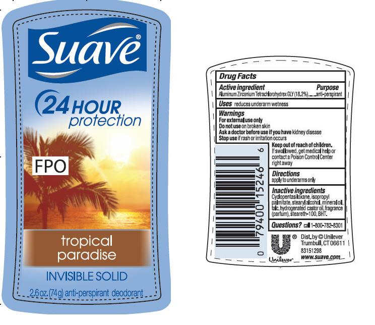 Suave Is Tropical Paradise Antiperspirant And Deodorant (Aluminum Zirconium Tetrachlorohydrex Gly) Stick [Conopco Inc. D/b/a Unilever]