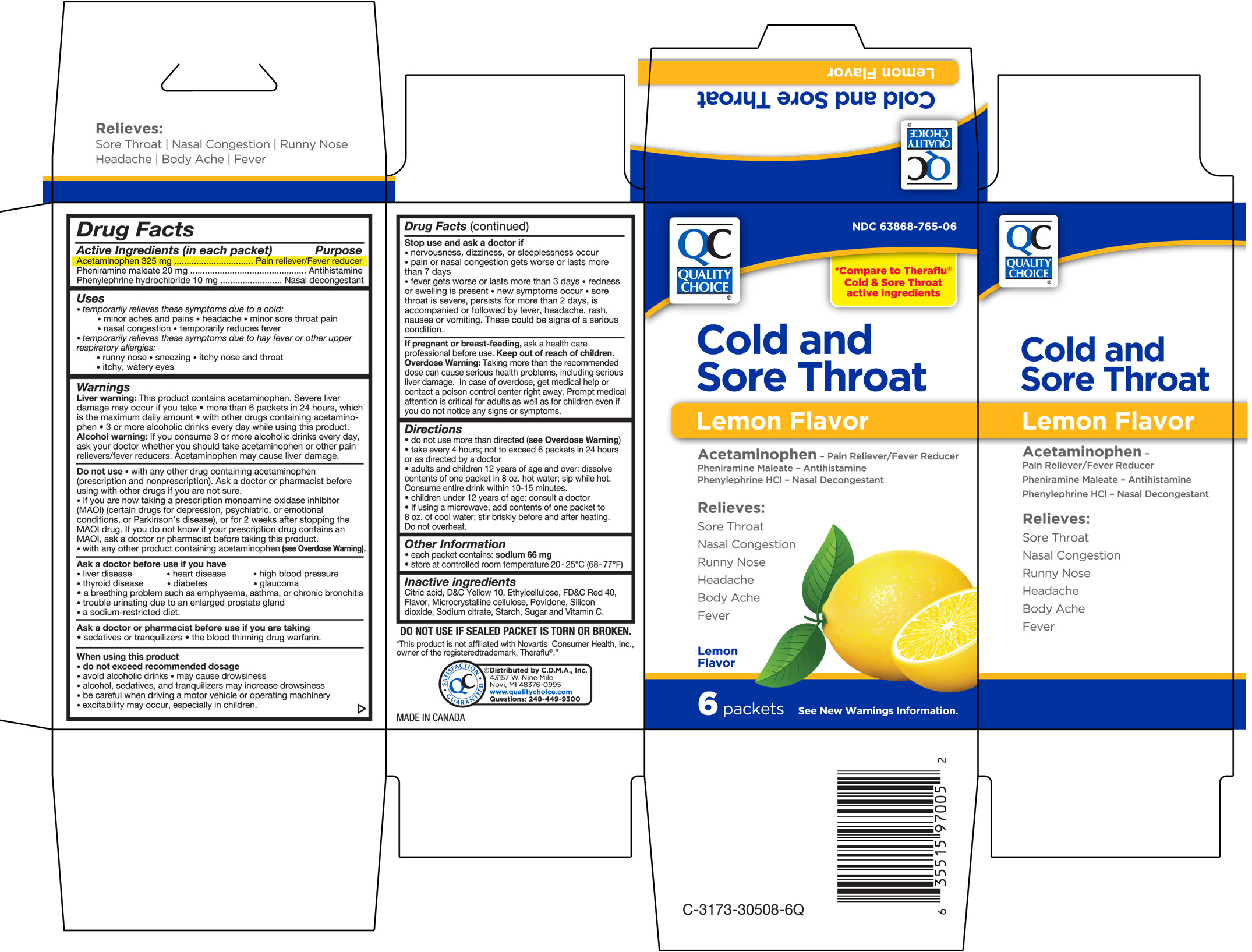 Quality Choice Cold And Sore Throat Lemon Flavor (Acetaminophen, Pheniramine Maleate, Phenylephrine Hcl) Granule, For Solution [Chain Drug Marketing Association]