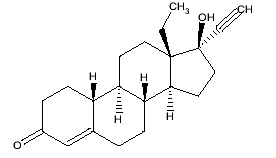 image of Levonorgestrel chemcial structure
