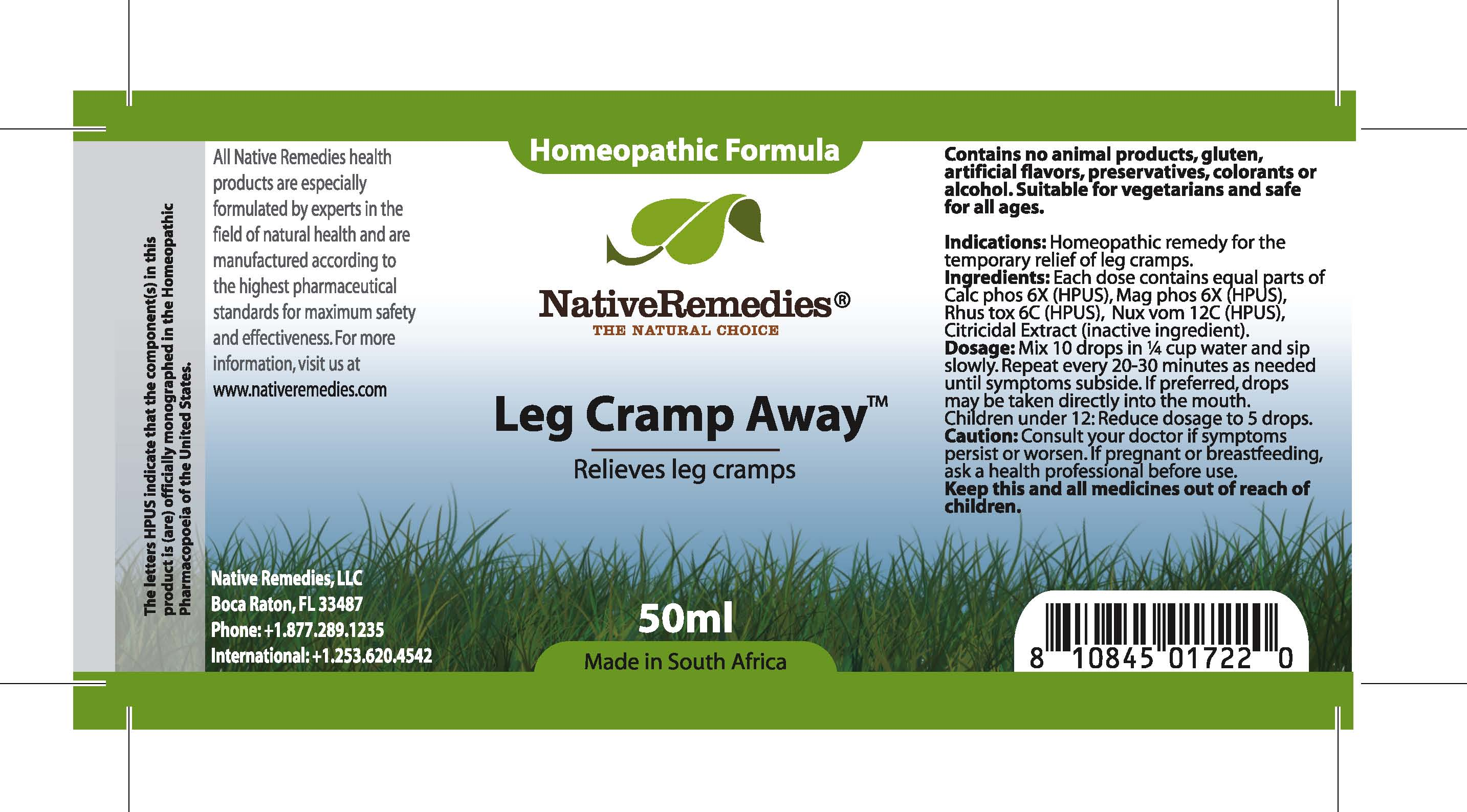 Leg Cramp Away (Calc Phos, Mag Phos, Rhus Tox , Nux Vom , Citricidal Extract ) Tincture [Feelgood Health]
