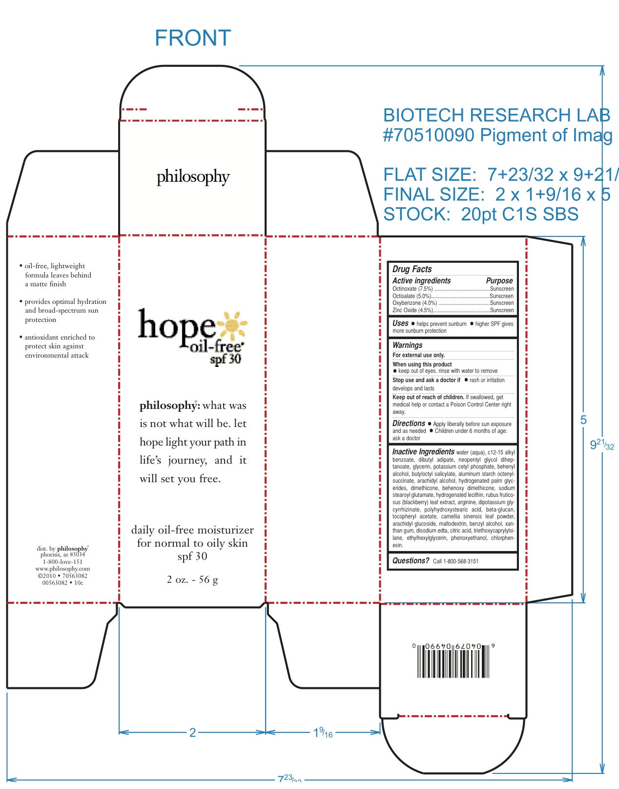 Hope Oil Free Moisturizer Spf 30 (Octinoxate And Octisalate And Oxybenzone And Zinc Oxide) Cream [Philosophy, Inc.]