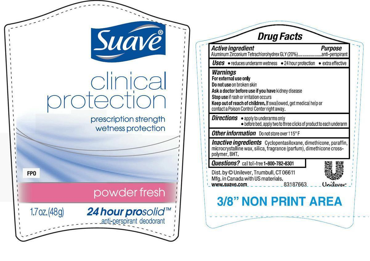 Suave Clinical Protection Powder Fresh Antiperspirant And Deodorant (Aluminum Zirconium Tetrachlorohydrex Gly) Stick [Conopco Inc. D/b/a Unilever]