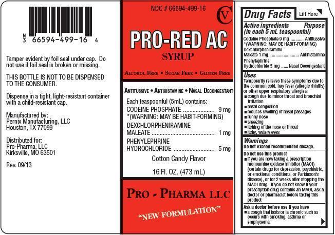Pro-red Ac (Codeine Phosphate, Dexchorpheniramine Maleate, Phenylephrine Hydrochloride) Syrup [Pro-pharma, Llc]