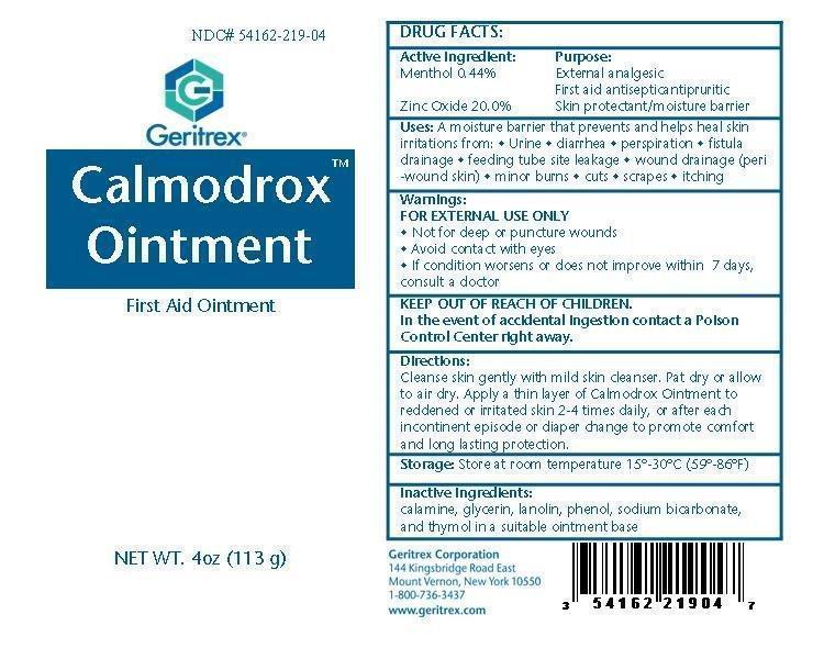 Calmodrox (Menthol, Zinc Oxide) Ointment [Geritrex Corp]