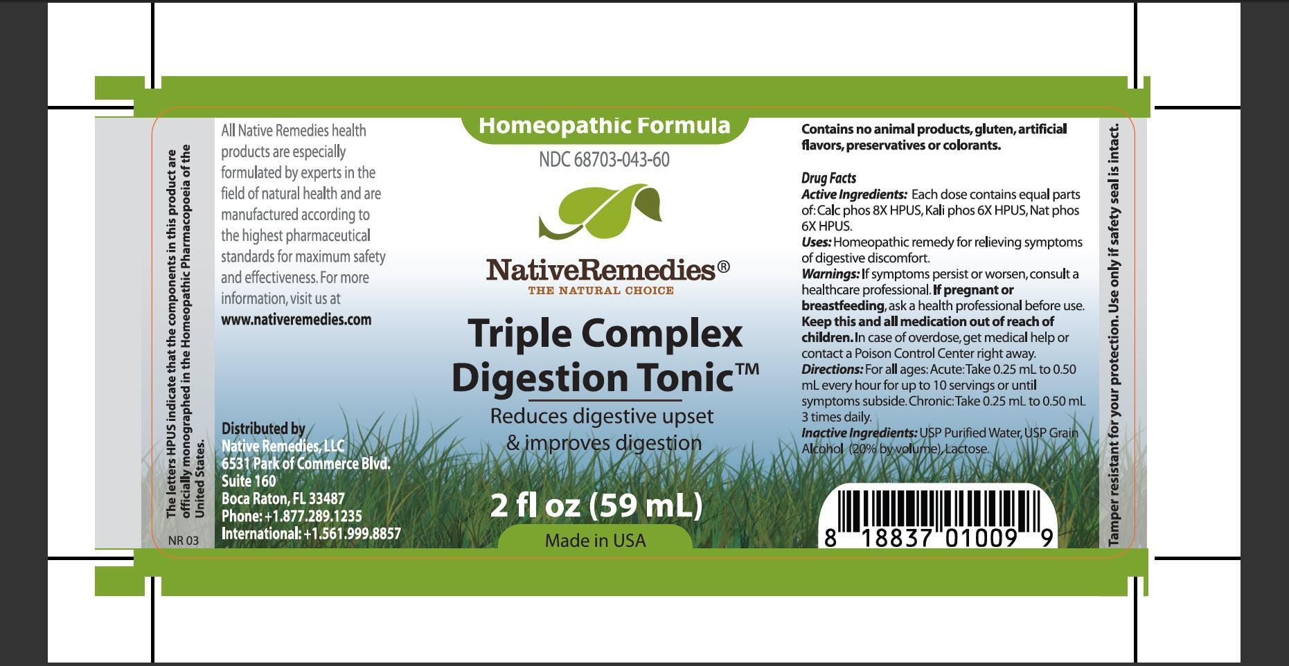 Triple Complex Digestion Tonic (Calc Phos, Kali Phos, Nat Phos) Tincture [Native Remedies, Llc]