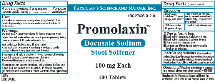 Promolaxin (Docusate Sodium) Tablet [Physicians Science & Nature Inc.]