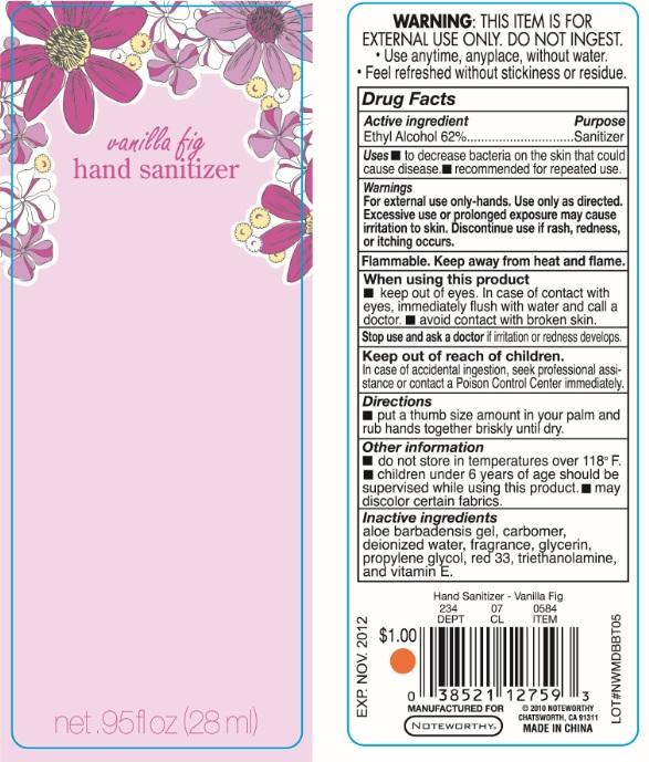 Vanilla Fig Hand Sanitizer (Ethyl Alcohol) Liquid [Papermates, Inc. Dba Noteworthy]