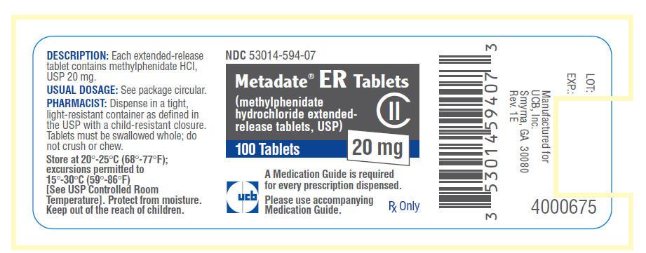 Metadate Er (Methylphenidate Hydrochloride) Tablet, Extended Release [Unither Manufacturing, Llc]
