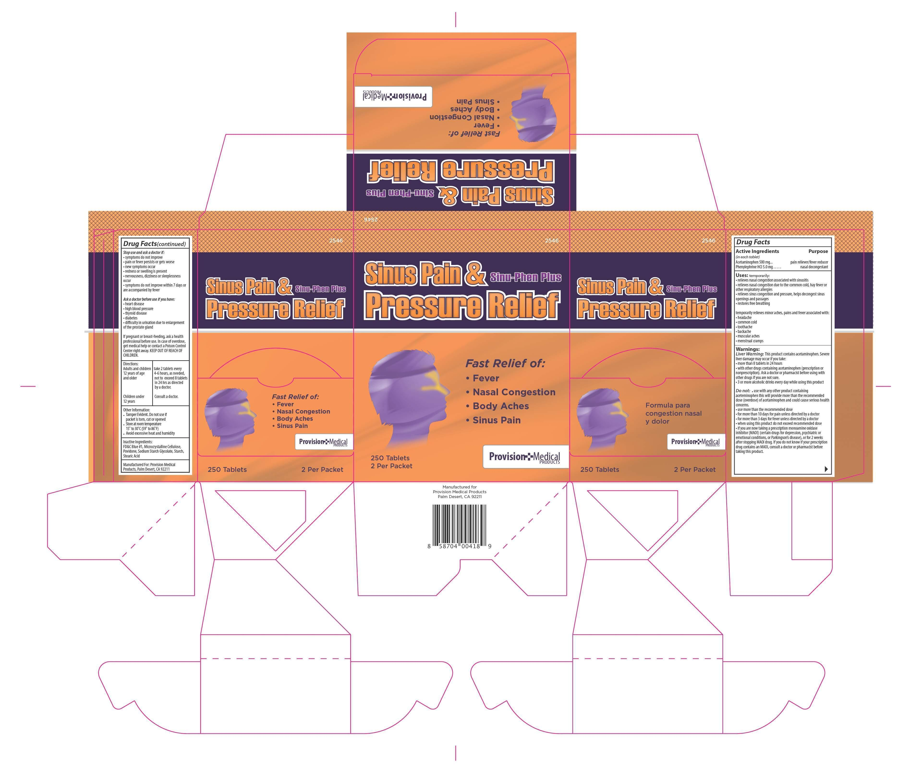 Sinu-phen Plus (Phenylephrine Hcl, Acetaminophen ) Tablet [Provision Medical Products]