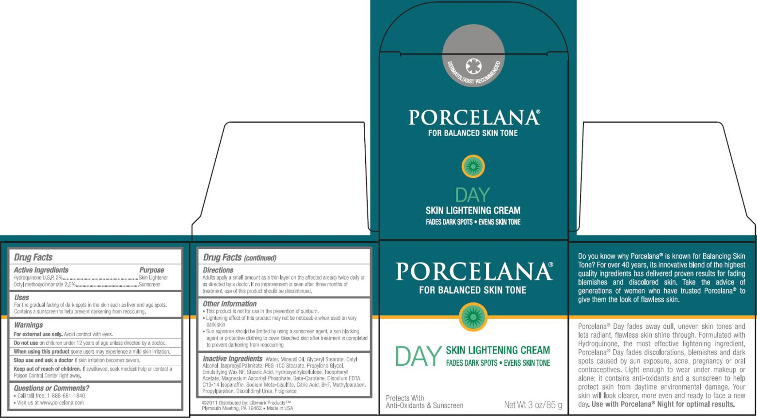 Porcelana Day Skin Lightening (Hydroquinone And Octinoxate) Cream [Ultimark Products Llc]