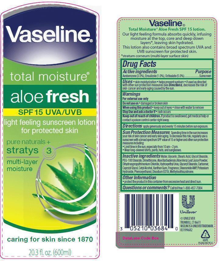 Vaseline Total Moisture Aloe Fresh Spf 15 (Octisalate, Avobenzone, Ensulizole) Lotion [Conopco Inc. D/b/a Unilever]