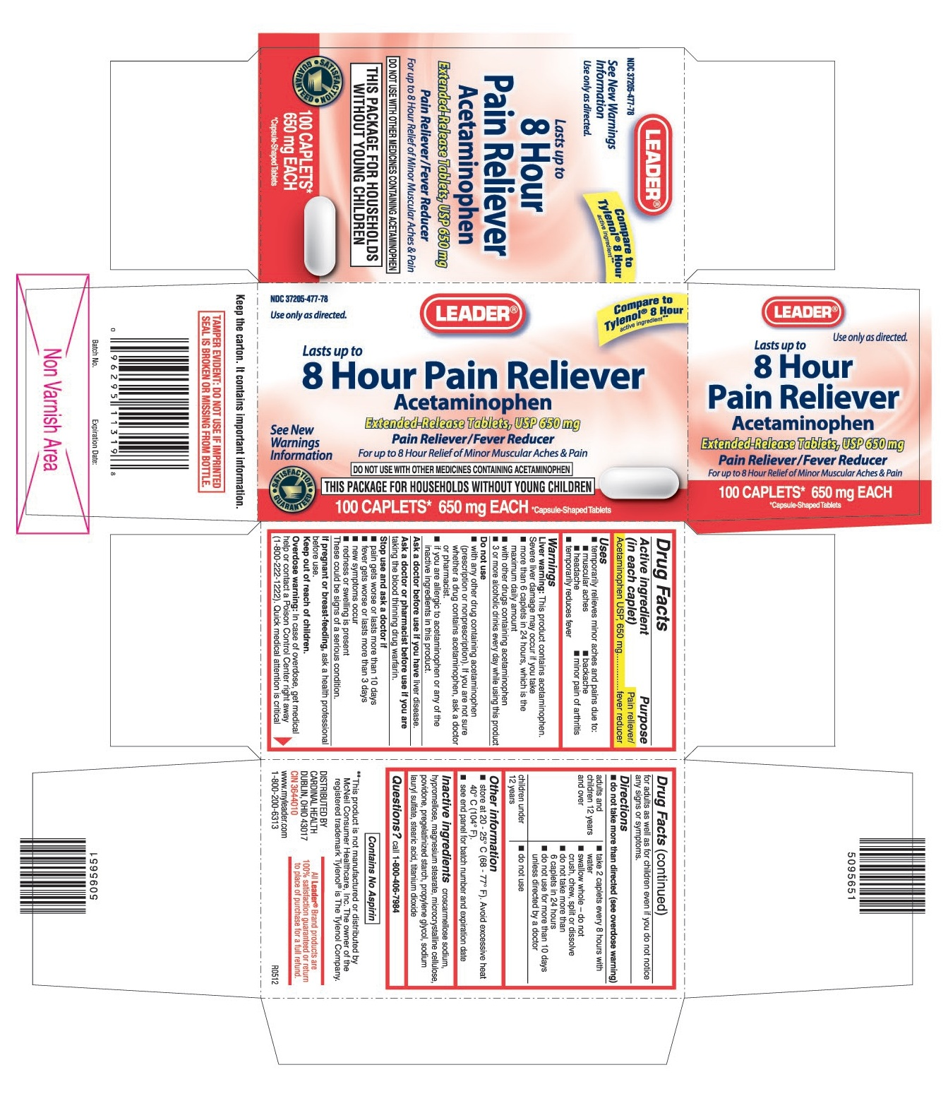 This is the 100 count bottle carton label for Leader Acetaminophen (8 hour) extended-release tablets, USP 650 mg.