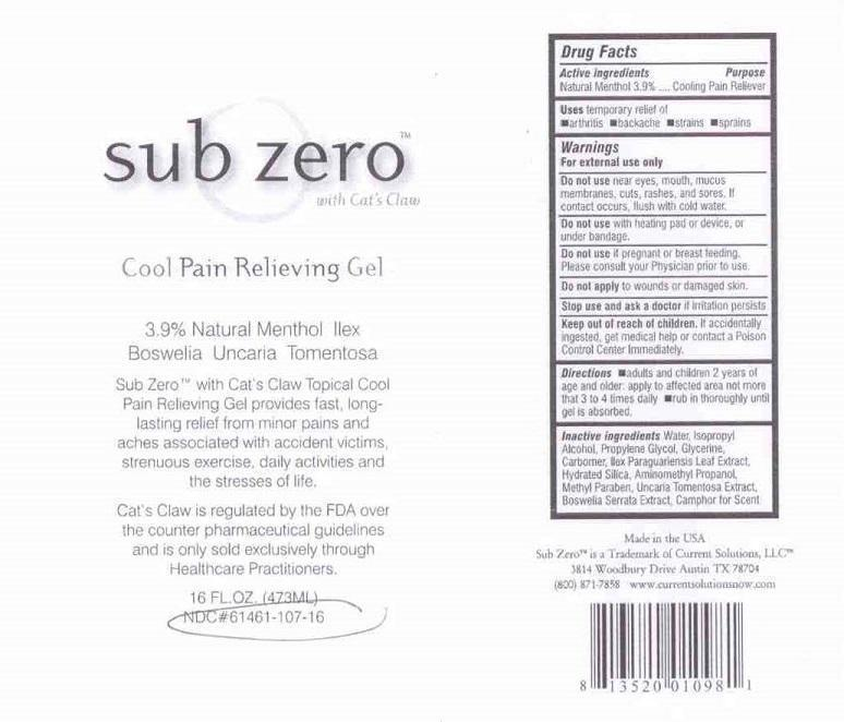 Sub-zero Cool Pain Relieving (Menthol) Gel [Current Solutions Llc]