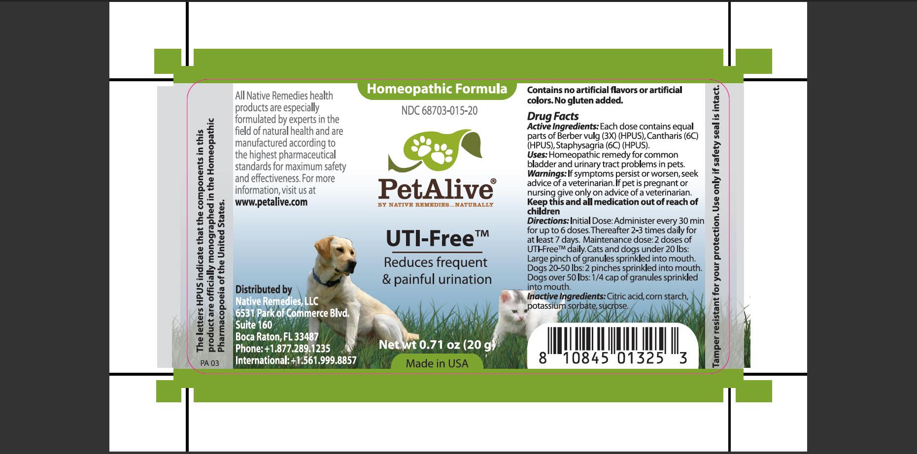 Petalive Uti-free (Berber Vulg, Cantharis, Staphysagria) Granule [Native Remedies, Llc]