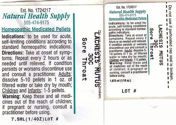 Sore Throat (Lachesis Muta Venom) Pellet [Natural Health Supply]