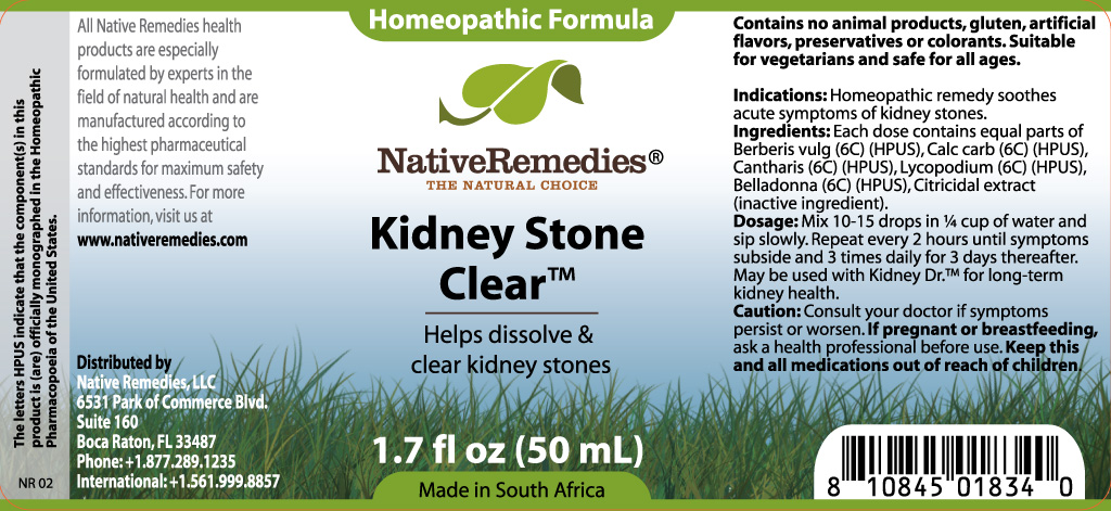 Kidney Stone Clear (Berberis Vulg, Calc Carb, Cantharis, Lycopodium, Belladonna ) Tincture [W. Last Cc]