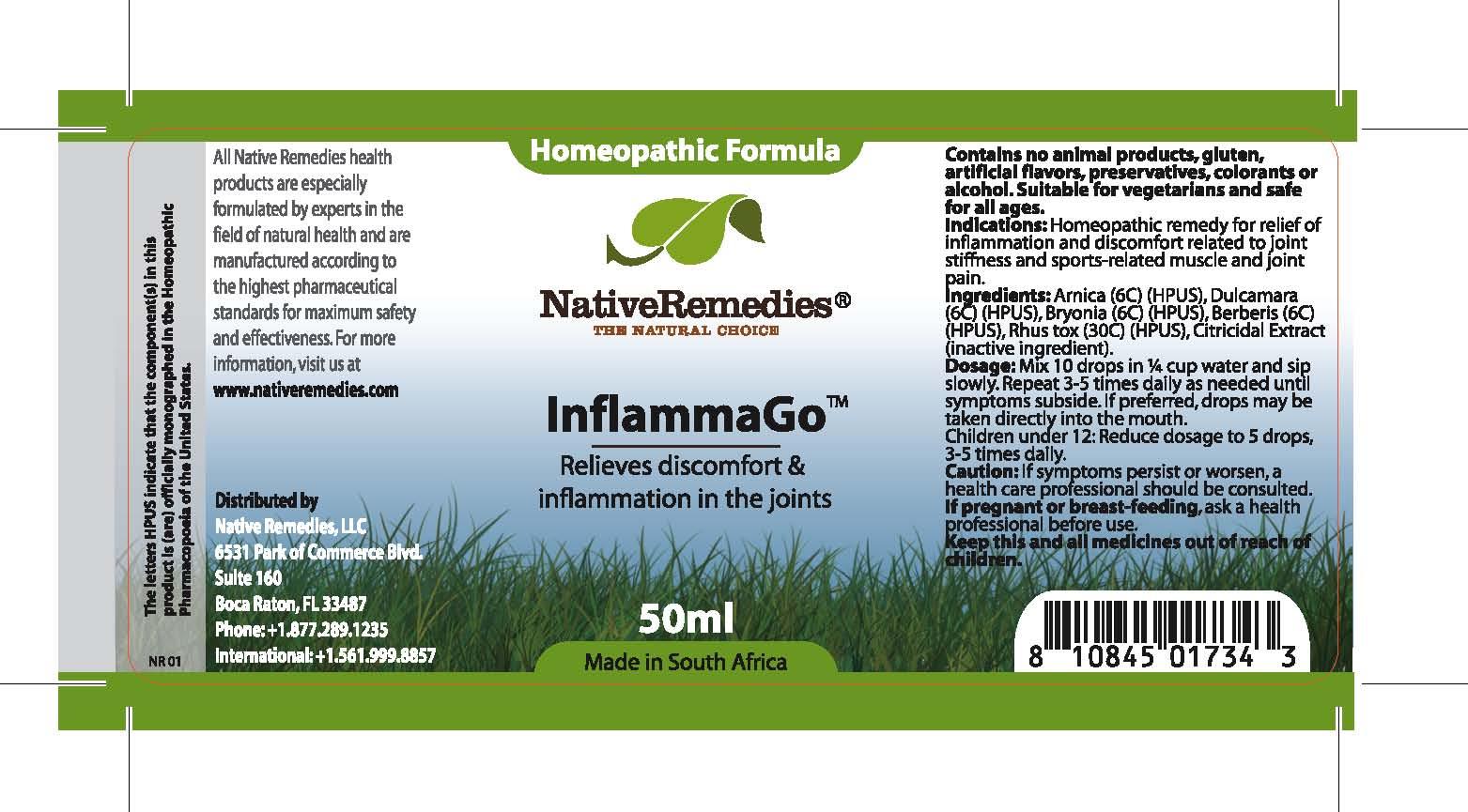 Inflammago (Arnica , Dulcamara, Bryonia , Berberis , Rhus Tox ) Tincture [Feelgood Health]