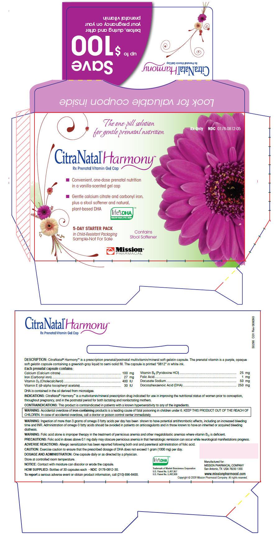 Citranatal Harmony (Calcium Citrate, Iron Pentacarbonyl, Cholecalciferol, Alpha-tocopherol, Dl-, Pyridoxine Hydrochloride, Folic Acid, Docusate Sodium, And Doconexent) Capsule, Gelatin Coated [Mission Pharmacal Company]