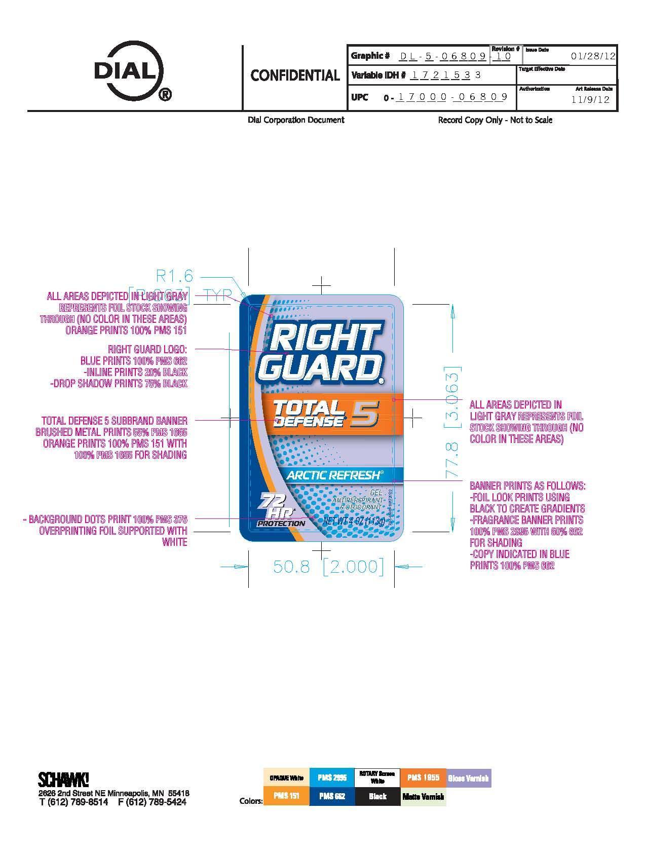 Right Guard Total Defense 5 Arctic Refresh (Aluminum Zirconium Octachlorhydrex Gly) Gel [Vvf Illinois Services Llc]
