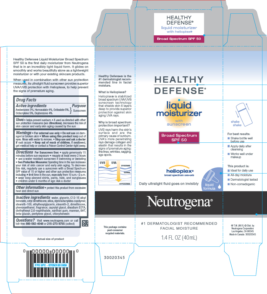 Neurogena Healthy Defense Moisturizer Sunscreen Broad Spectrum Spf50 (Avobenzone, Homosalate, Octisalate, Octocrylene, And Oxybenzone) Liquid [Neutrogena Corporation]