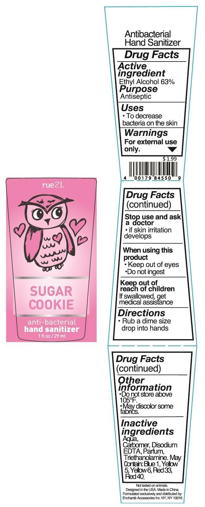 Rue 21 Sugar Cookie Anti Bacterial Hand Sanitizer (Alcohol) Liquid [Enchante Accessories Inc. ]