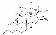 Chemical structure of clobetasol propionate