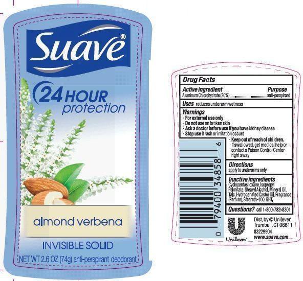 Suave Almond Verbena Antiperspirant Deodorant (Aluminum Chlorohydrate) Stick [Conopco Inc. D/b/a Unilever]