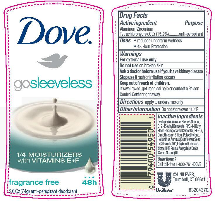 Dove Go Sleeveless Fragrance Free Antiperspirant And Deodorant (Aluminum Zirconium Tetrachlorohydrex Gly) Stick [Conopco Inc. D/b/a Unilever]