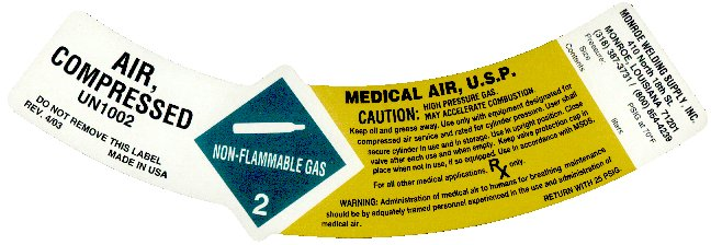 Medical air neck label