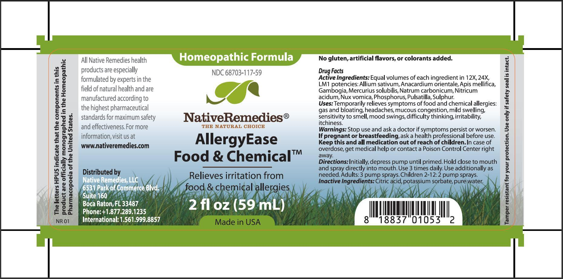 Allerguease Food And Chemical (Allium Sativum, Anacardium Orientale, Apis Mellifica, Gambogia, Mercuris Solubilis, Natrum Carbonicum, Nitricum Acidum, Nux Vomica, Phosphorus, Pulsatilla, Sulphur) Spray [Native Remedies, Llc]