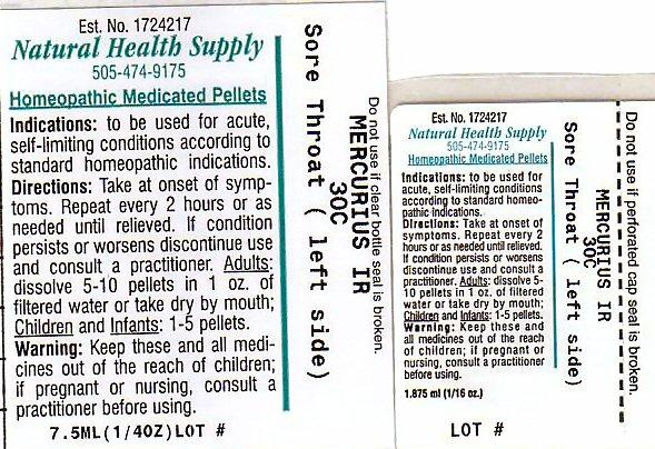Sore Throat Left Side (Mercuric Iodide) Pellet [Natural Health Supply]