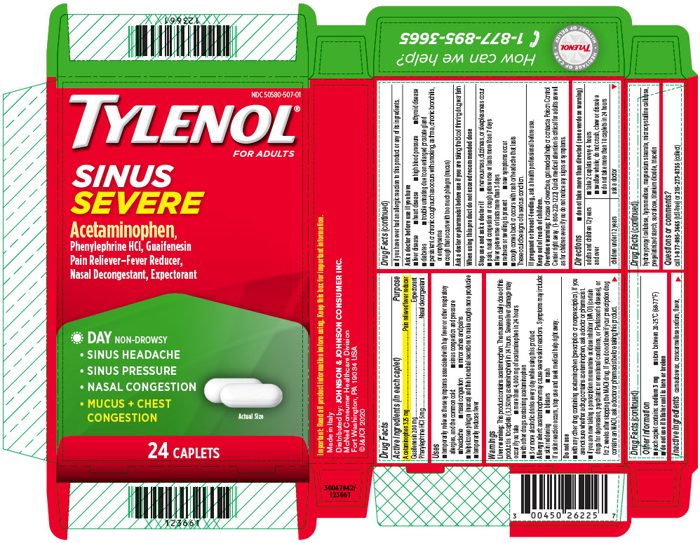 Tylenol Sinus Severe (Acetaminophen, Guaifenesin, And Phenylephrine Hydrochloride) Tablet, Coated [Mcneil Consumer Healthcare Div. Mcneil-ppc, Inc]