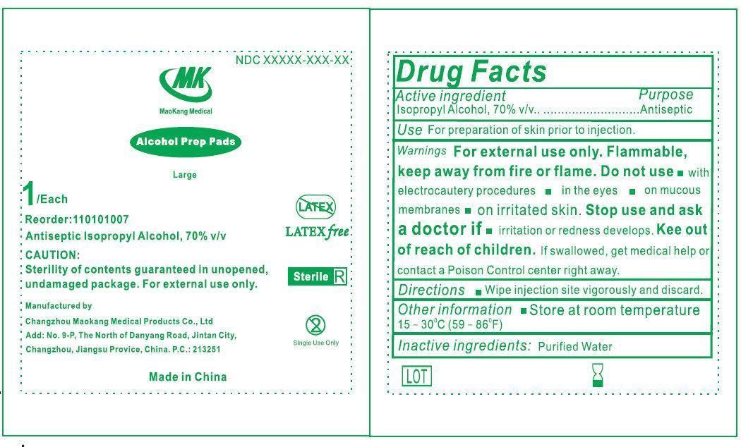Mk Alcohol Prep Pads Large (Isopropyl Alcohol) Liquid [Changzhou Maokang Medical Products Co., Ltd]