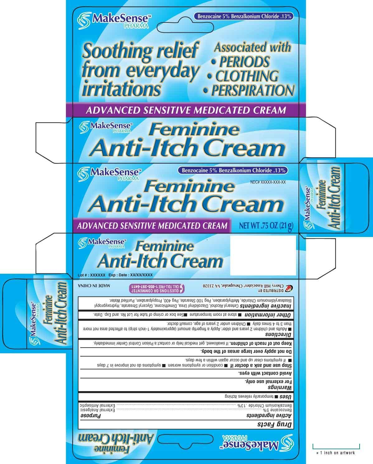 Makesense Feminine Anti-itch (Benzocaine Benzalkonium Chloride) Cream [Cherry Hill Sales Co]