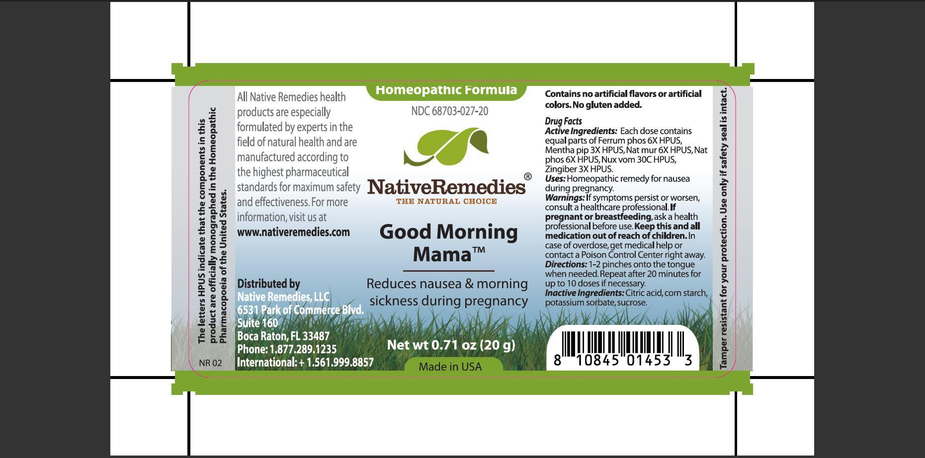 Good Morning Mama (Ferrum Phos, Mentha Pip, Nat Mur, Nat Phos, Nux Vom, Zingiber) Granule [Native Remedies, Llc]