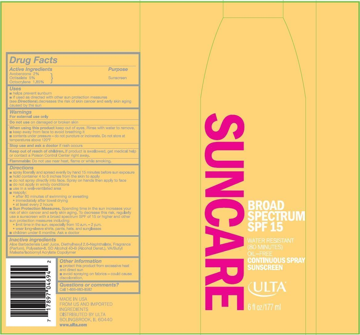 Ulta Broad Spectrum Spf 15 (Avobenzone, Octisalate And Octocrylene) Spray [Prime Packaging, Inc.]