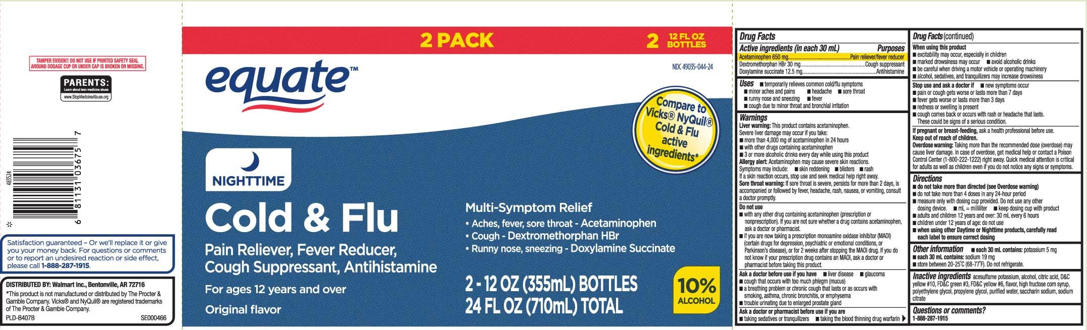 Nitetime Cold And Flu (Acetaminophen, Dextromethorphan Hydrobromide, Doxylamine Succinate) Liquid [Equate (Walmart Stores, Inc.)]