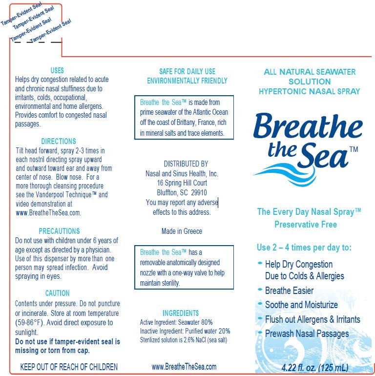 Breathe The Sea All-natural Seawater (Sodium Chloride) Spray [Nasal And Sinus Health, Inc.]