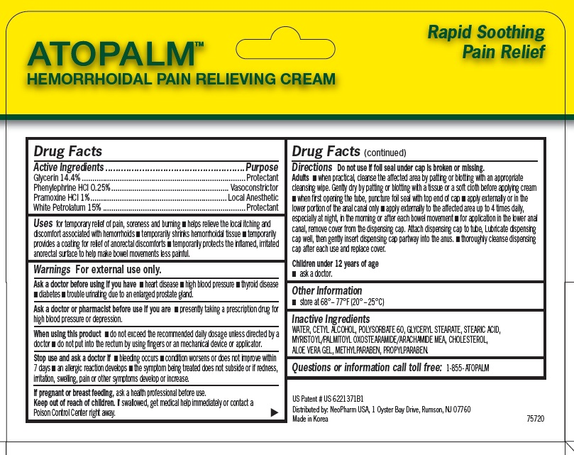 Atopalm Hemorrhoidal Pain Relieving (Glycerin, Phenylephrine Hcl, Pramoxine Hcl, White Petrolatum) Cream [Neopharm Usa]