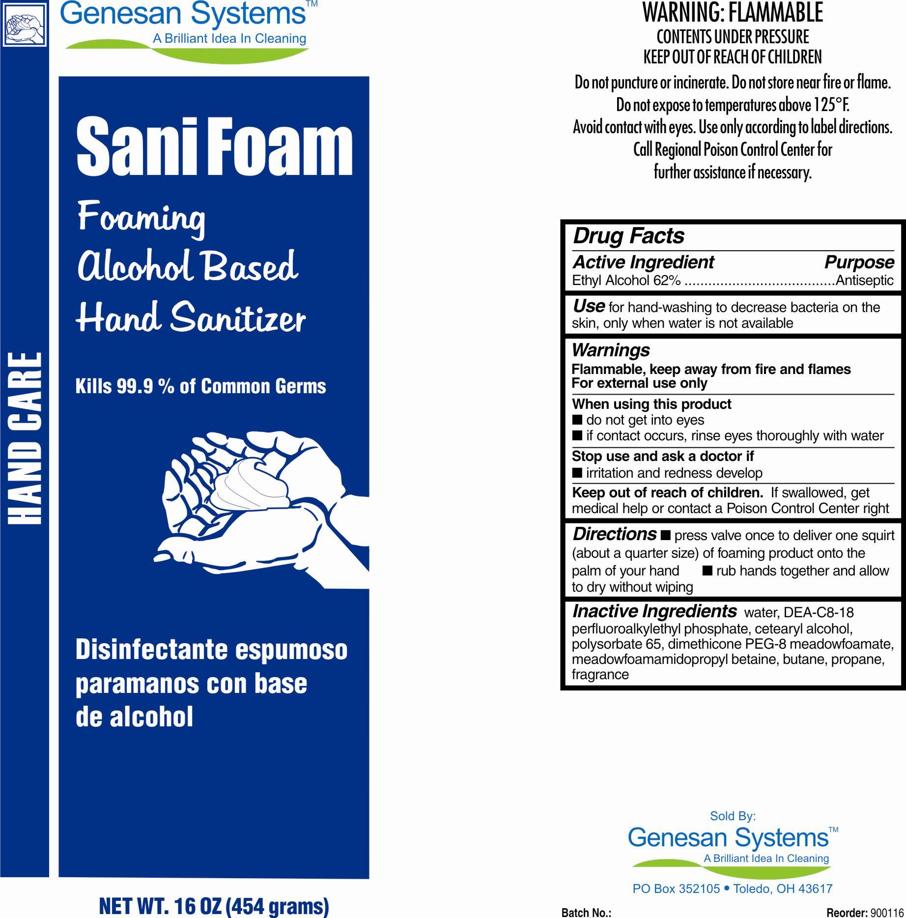 Sanifoam (Alcohol) Aerosol, Foam [Genesan Systems]