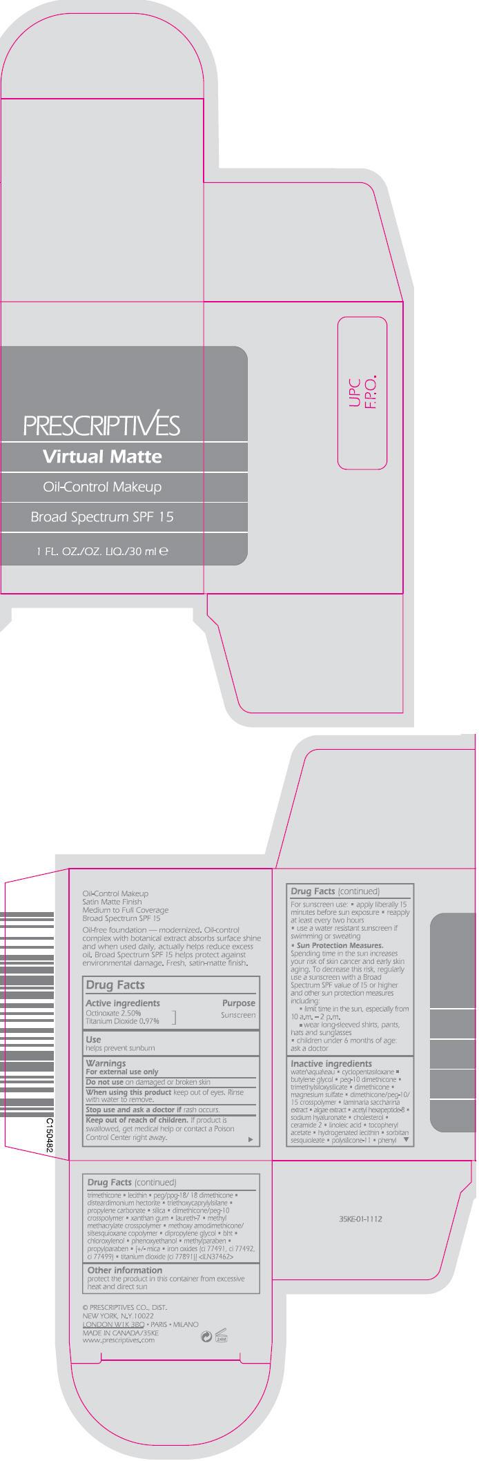 Virtual Matte Oil Control Makeup Broad Spectrum Spf 15 (Octinoxate And Titanium Dioxide) Liquid [Prescriptives Inc]
