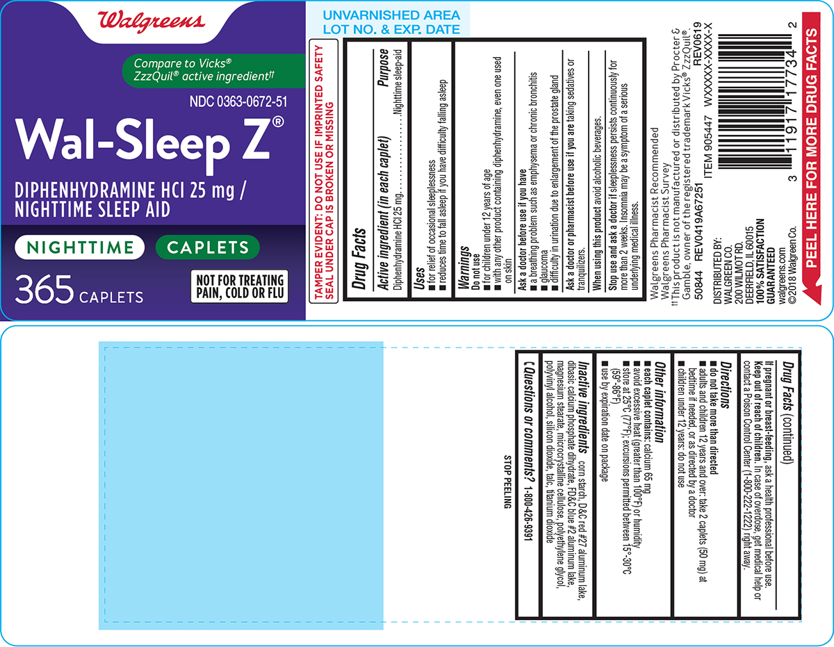 Wal-sleep Z (Diphenhydramine Hcl) Tablet, Film Coated [Walgreen Co.]