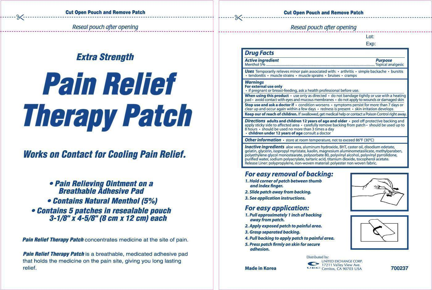 Extra Strength Pain Relief Therapy (Menthol) Patch [United Exchange Corp]