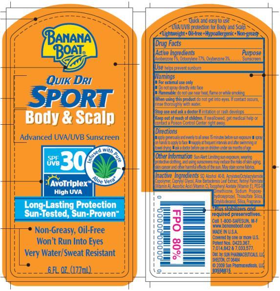 PRINCIPAL DISPLAY PANEL Banana Boat Quik Dri Sport Body and Scalp SPF 30