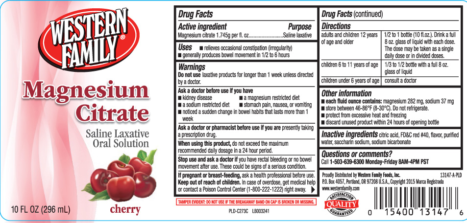 Magnesium Citrate Cherry (Magnesium Citrate) Liquid [Western Family Foods, Inc.]