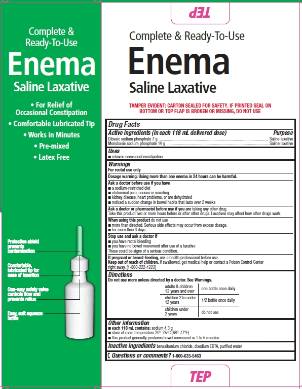 Safeway Saline Laxative Enema box, side and drug facts